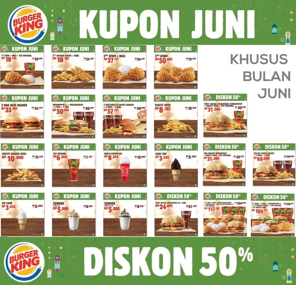 Diskon BURGER KING Promo KUPON SPESIAL JUNI dan DISKON HINGGA 50%